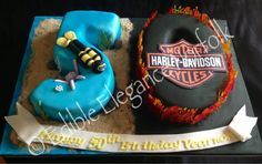 This cake combines two interests, scuba diving and Harley's!
