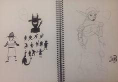 Left: I tried following the design process of drawing silhouettes of characters that I could sketch later on.   Right: my attempt at Jak from Jak 3