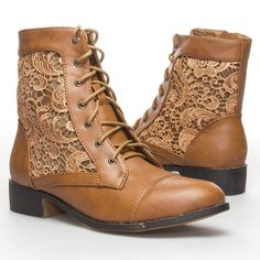 Women's Fashion #Shoes: Top Moda Womens LA26 Closed Round Toe #Lace Up Floral Lace Crochet Zipper Combat Military Ankle High Top Flat Low Heel Boots
