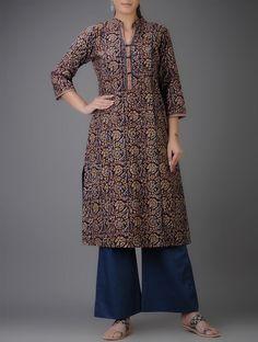 Buy Black Blue Ochre Kalamkari printed Mandarin Collar Cotton Kurta Online at Jaypore.com