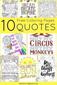 10 Free Quotes Adult Coloring Pages!