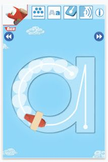Little Sky Writers (iOS,$1.99) is a fun app for teaching kids to write the letters correctly.