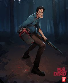 ArtStation - Evil Dead - Ash (Character painting process), Malcolm W Evil Dead Trilogy, Evil Dead Movies, Scary Movies, Evil Dead 1981, Ash Evil Dead, Ash Williams, Splash Images, Horror Artwork, Bruce Campbell