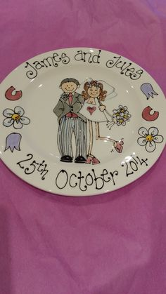 Personalised wedding plate with your name, date and even hair colour on. Available from www.facebook.com/sherbertfizzceramics.com
