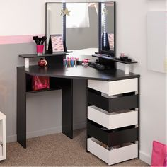 Love the corner vanity - Just need different colors - Volage Makeup Vanity with Mirror Corner Vanity, Vanity Room, Glam Room, Makeup Rooms, Teen Girl Bedrooms, My New Room, House Rooms, Room Inspiration, Bedroom Decor