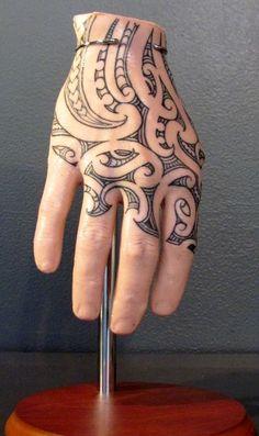 Maori Hand (Tattoo Silicon Hand) by Whitireia Visual Arts and Design graduate Tuigamala Andy Tauafiafi. Tribal Hand Tattoos, Shark Tattoos, Baby Tattoos, Body Art Tattoos, Girl Tattoos, Tatoos, Samoan Tattoo, Arm Tattoo, Sleeve Tattoos