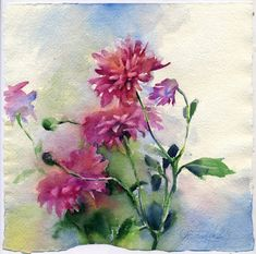 Purple flowers watercolor  original purple asters by OlgaSternyk