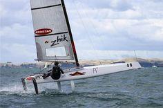 pinterest.cim/fra411 #sailing - Nathan Outteridge (AUS) A-class catamaran World Championships, Day 3, Takapuna February 13, 2014