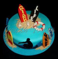 "Torta decorada con fondant "" Surf"""