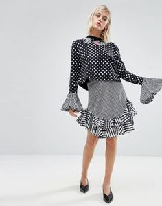 House of Holland Gingham Skirt love top and skirt