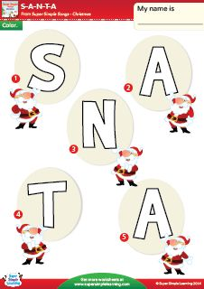 """""""S-A-N-T-A"""" Color The Letters Worksheet from Super Simple Learning. #Christmas #kindergarten #ESL"""