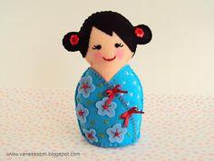 Felt Kokeshi Doll, What a sweet little doll!