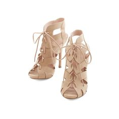 Urban Strappy Days Heel by ModCloth ($35) found on Polyvore featuring shoes, pumps, heels, sapatos, обувь, other heel, tan, high heel stiletto pumps, heels stilettos and strappy shoes