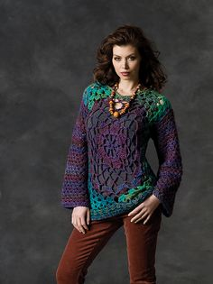 How to wear a giant granny square and be totally cool.  :)  I won't be making this out of Red Heart (I'm a yarn snob...I admit it), but I'll make it out of something soft, pretty, and natural.  Great design.
