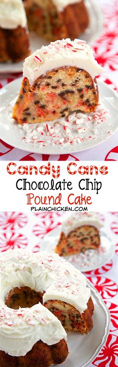Candy Cane Chocolate Chip Pound Cake - homemade pound cake loaded with crushed candy canes and chocolate chips and topped with a quick homemade peppermint buttercream - AMAZING! Definitely going on our holiday table! (Christmas Bake Candy Cane)