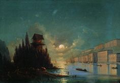 Ivan Aivazovsky View of seaside town in the evening with a lighthouse, 1870