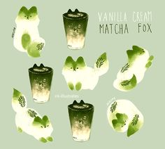 lmao what even - nk-illustrates: Vanilla Cream Matcha Fox. Cute Animal Drawings, Kawaii Drawings, Cute Drawings, Drawing Animals, Art Et Illustration, Cute Doodles, Kawaii Art, Pretty Art, Cat Art
