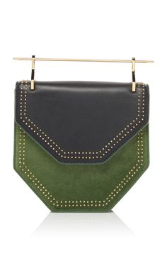 ab016cbb4947 Studded Suede Amor Fati Hexagon Handbag by M2MALLETIER Now Available on  Moda Operandi Metallic Top