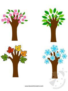 Questi alberi realizzati con la sagoma di una mano sono un'idea molto semplice ma carina per rappresentare le quattro stagioni. Possono servire per decorar