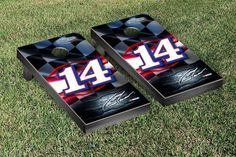 Tony Stewart Night Lights Cornhole Board Set - NASCAR #14  Mobil Version