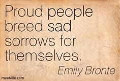 Proud people breed sad sorrows for themselves. Emily Bronte