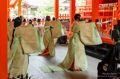 The beginning of the rice planting season.  Men and women dressed in heian era robes dancing.