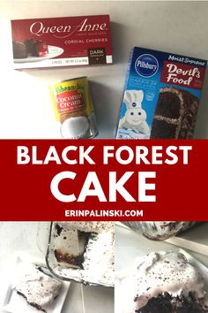 This easy black forest cake only needs a couple ingredients!  You'll love this delicious easy cake recipe. #blackforestcake