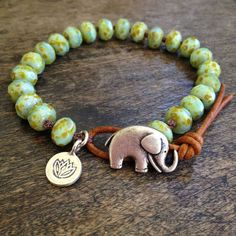 Boho Elephant Lotus Knotted Leather Wrap Bracelet, Rustic Silver Bohemian Jewelry, Good Luck Charm by Two Silver Sisters