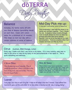 Daily Routine using essential oils. I have never felt better more grounded before. Everyday living at peace.   doTERRA with Megan