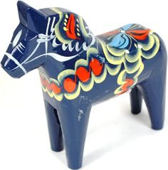 "Amazon.com: Traditional Wooden Swedish Dala Horse - Blue 8"" (20cm): Collectible Figurines: Posters & Prints"