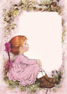 My Imagination is to make it Real. Sarah Key, Holly Hobbie, Sara Key Imagenes, Borders And Frames, Decoupage Paper, Writing Paper, Cute Illustration, Vintage Cards, Cute Drawings