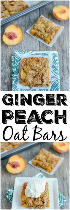 This recipe for Ginger Peach Oat Bars is perfect for a summer dessert. They're packed with fresh, juicy peaches and taste great topped with a scoop of vanilla ice cream!