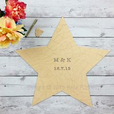 CUSTOM SHAPE (star) Puzzle Wedding Guest Book. Birch wood. Have guests sign it with archival pigment markers. This will look great framed after the wedding! Good for rustic, bohemian, barn, and holiday weddings.