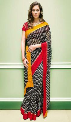 3223b45792 G3 fashionGeorgette black printed sari. Product Code: G3-LS16330 . Price:  INR