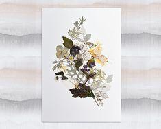 Pressed flower art Herbarium Dried flower art Flower picture Pressed botanicals Wall art Botanical art Original artwork Flower picture #floral #botanical #art #flowers #plants