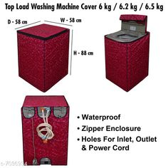 Appliance Covers Dream CareWashing Machine Cover For Fully Automatic Top Load  6 kg , 6.2 kg , & 6.5 kg Material: PVC Pattern: Printed Pack: Pack of 1 Product Length: 58 cm Product Breadth: 58 cm Product Height: 88 cm Country of Origin: India Sizes Available: Free Size   Catalog Rating: ★4 (374)  Catalog Name: Latest Home Appliance Covers CatalogID_1122953 C131-SC1624 Code: 082-7036934-336