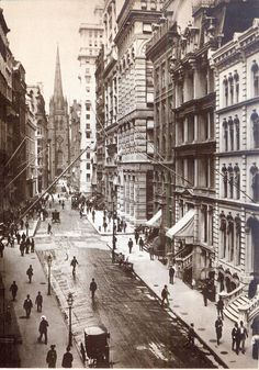postcard - old new york - 1898 - wall st - looking west from pearl st toward trinity church on broadway
