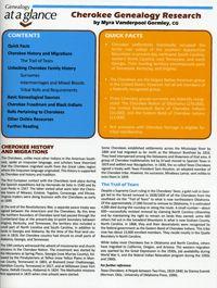 Genealogy at a Glance: Cherokee Genealogy Research; by Myra Vanderpool Gormley