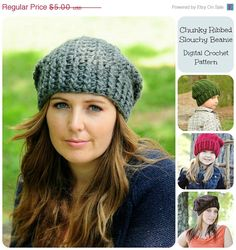 20% OFF SALE - Crochet Hat Pattern, Crochet Pattern, Chunky Ribbed Slouchy Beanie