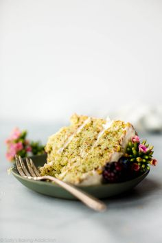 This pistachio cake is made with real pistachios! It's soft, fluffy, light and tastes unbelievable with silky cream cheese frosting. Make this layer cake for your Easter dessert! Köstliche Desserts, Delicious Desserts, Cupcakes, Cupcake Cakes, Food Cakes, Nake Cake, Cake Recipes, Dessert Recipes, Pistachio Cake