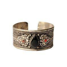 Tibetan Silver Cuff with Black Onyx