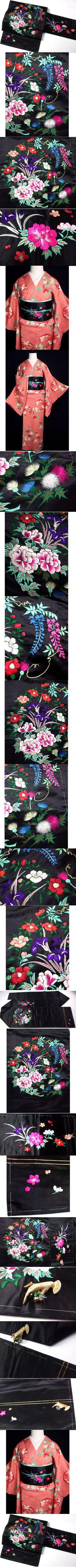 春のsale!! b633極上日本刺繍/藤牡丹椿アンティーク帯   - ヤフオク!