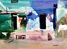 Watercolor Architecture, Watercolor Landscape Paintings, Watercolor Drawing, Gouache, Painting Corner, Poster Color Painting, Indian Illustration, Urban Painting, Contemporary Paintings
