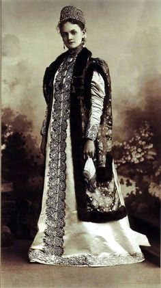 Anna Sergeievna Istomiva Costume worn to the Romanov Anniversary Ball in 1903. The theme of the lavish masked ball was the reign of Alexei of Russia, second ruler of the Romanov dynasty (1645-1676). Some guests went so far as to actually wear original costumes from the period that were being stored at the Kremlin.