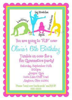 Gymnastics Invitations, Gymnastics birthday Invitations, Gymnastics Birthday Party,Girls,  BIrthday, Children on Etsy, $1.59