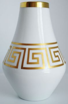 Mid Century Jaeger Vase Greek Key Gold Gild Bavaria Germany Vintage at ebay