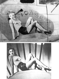 IDALIZA - B-17G 42-97546 - 303rd Bomb Group, 360th Bomb Squadron - Nose art by Sam Rodman, assigned as the squadron painter, based on press release photo of actress Ida Lupino (below). Upper photo taken 15 Sep 44.