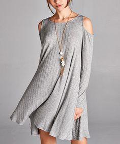 Look at this #zulilyfind! Heather Gray Ribbed Cold Shoulder Swing Dress #zulilyfinds