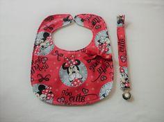 Babete e fita de chupeta Disney/ Conjunto vermelho da Minnie para menina / Prenda recém pais / Para mamãs e papás / Acessórios bebé 1-4 anos