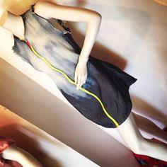 Wixun distressed/bleached dress. Neon zipper
